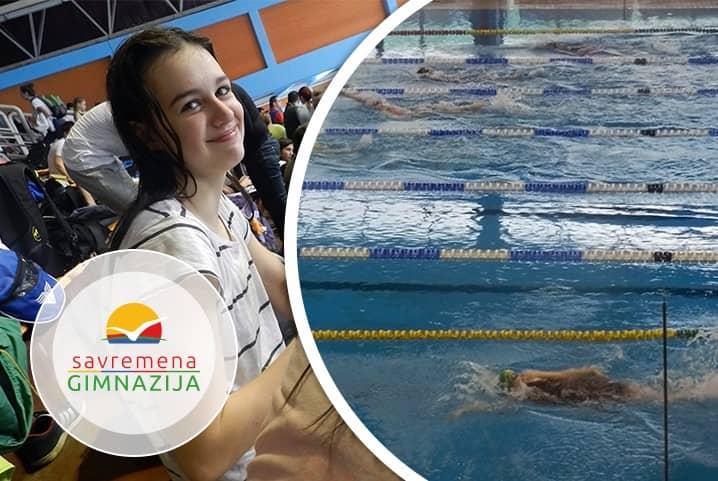 Tara Ćulibrk plivala pod bojama Savremene na republičkom takmičenju u plivanju