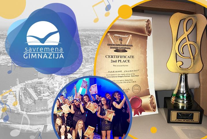 Srebro za Adrianu Salahović na međunarodnom pevačkom takmičenju na Malti